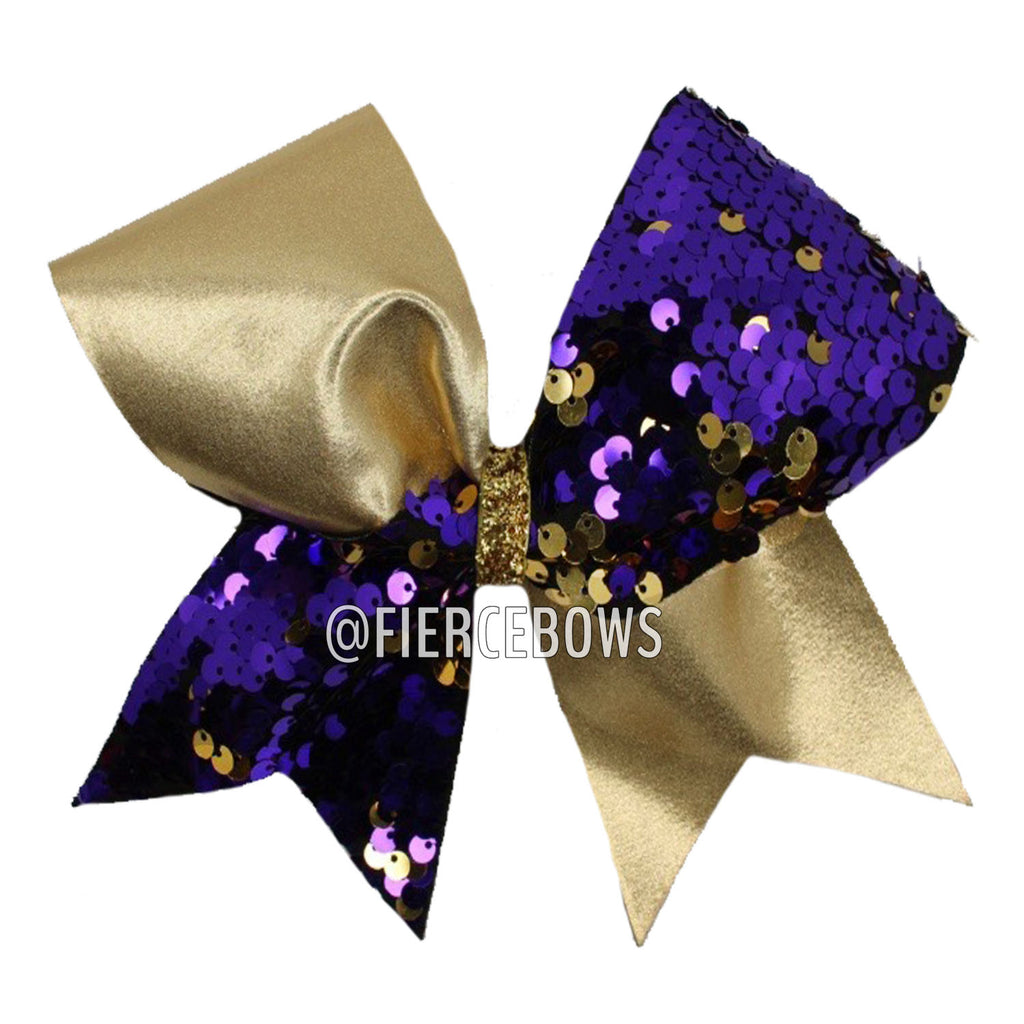 Purple and Gold Reversible Sequin Tick Tock Bow