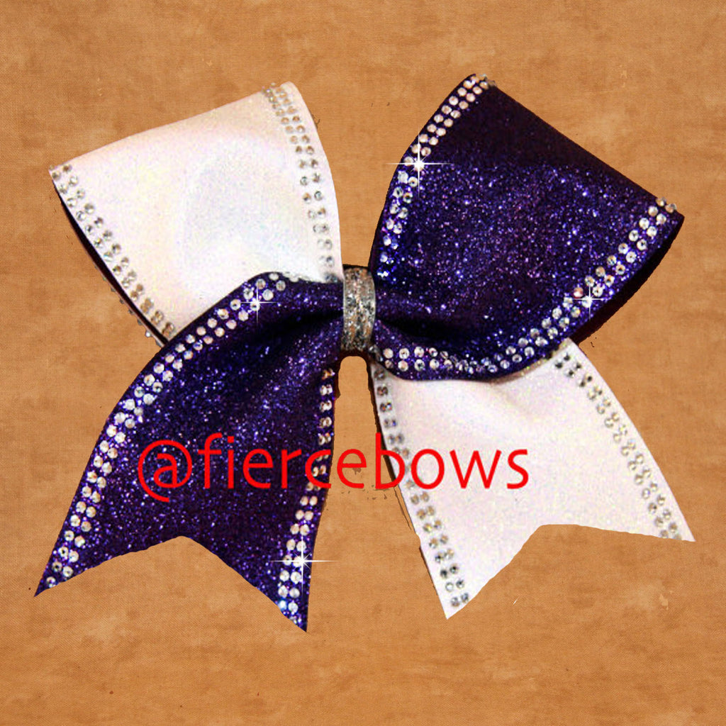 Purple and White Glitter and Rhinestone Tick Tock Bow