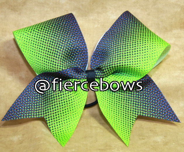 Purple to Lime Graphic Ombre Cheer Bow