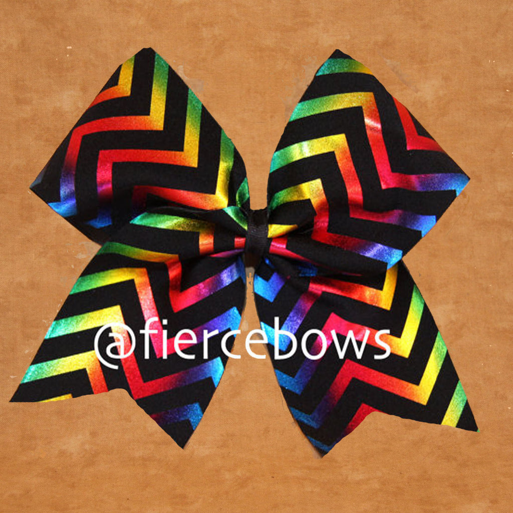 Rainbow Metallic Chevron Bow