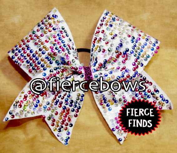 "Rainbow ""Rain"" Style Sequin Cheer Bow"