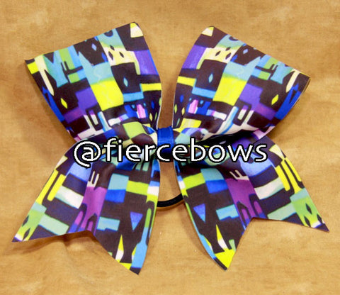 Random Abstract Print Cheer Bow