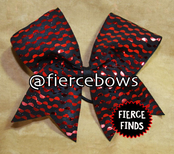 Red and Black Metallic Circles Cheer Bow