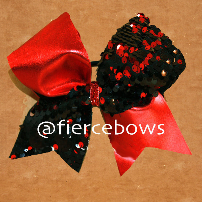 Red and Black Reversible Sequin Tick Tock Bow
