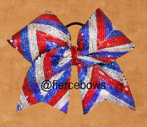 Red, Silver and Blue Sequin Chevron Cheer Bow
