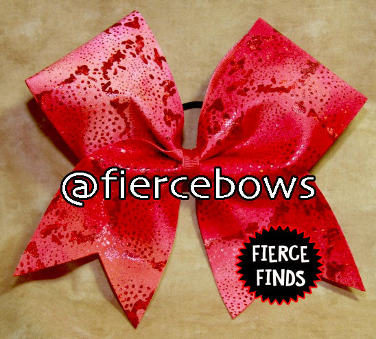 Red Metallic Granite Cheer Bow