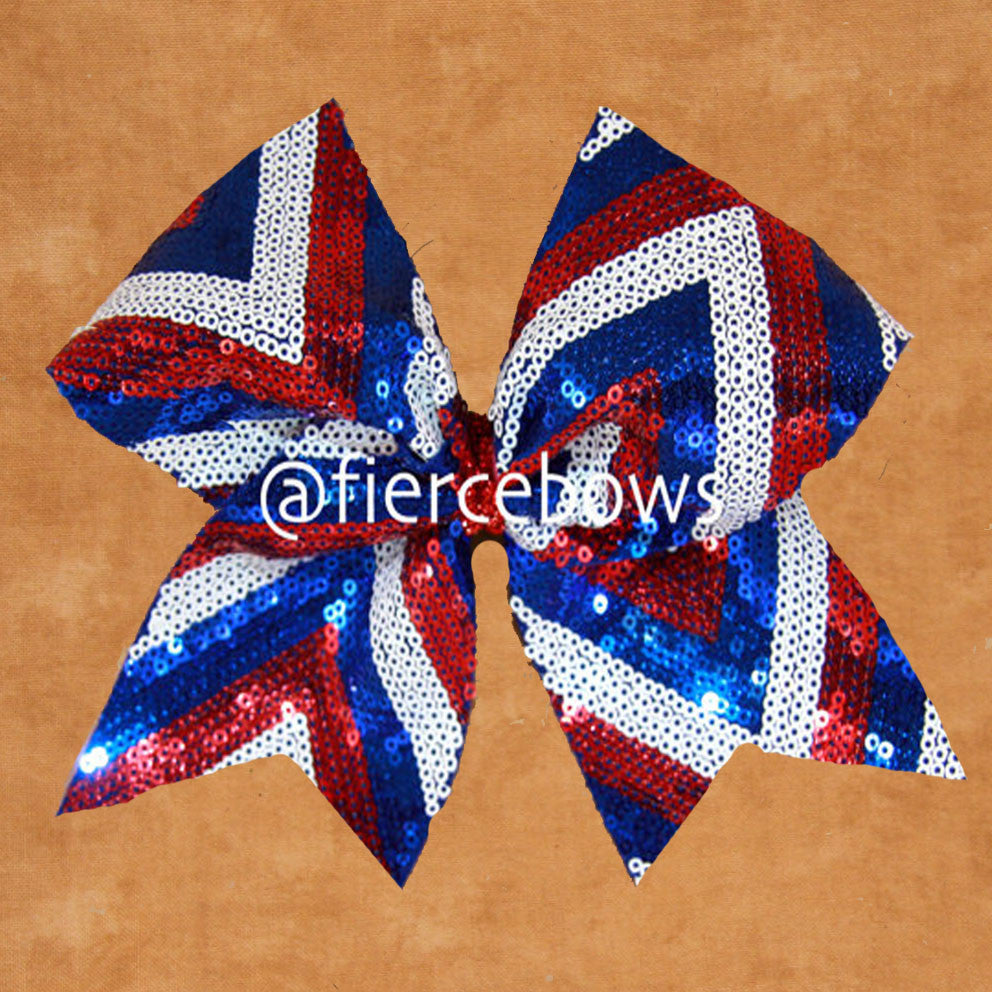 Red, White and Blue Sequin Chevron Cheer Bow