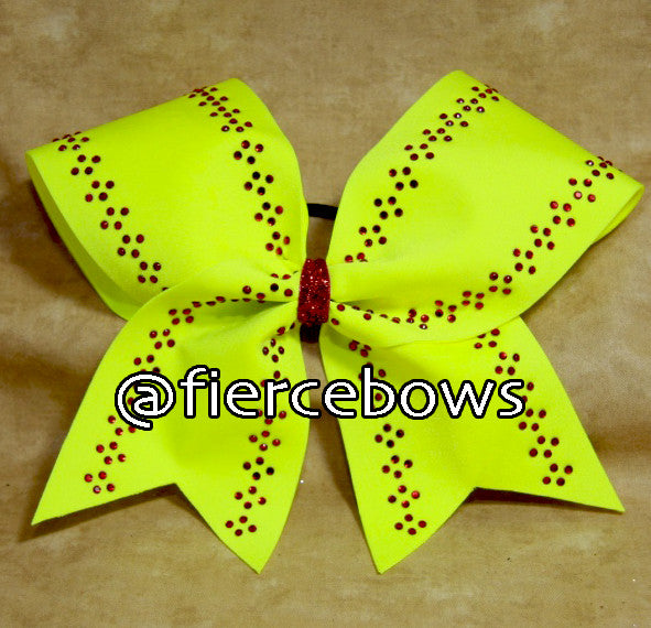 Rhinestone Softball Bow