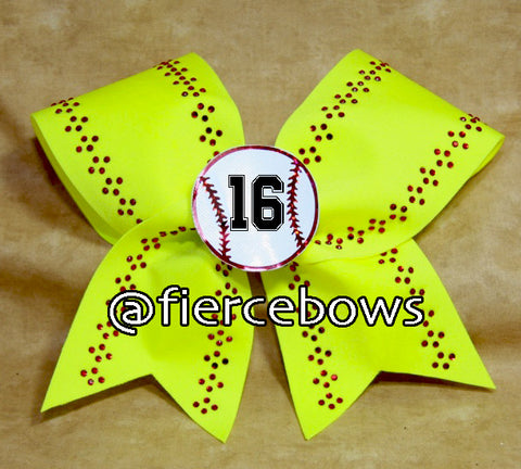 Customizable 3D Rhinestone Softball Bow