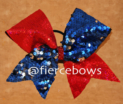 Reversible Sequin Tick Tock - Blue/Silver with Red Sequin