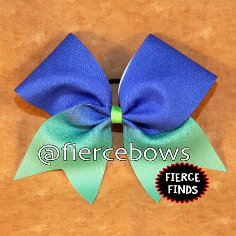 Royal to Green Sublimated Ombre Bow