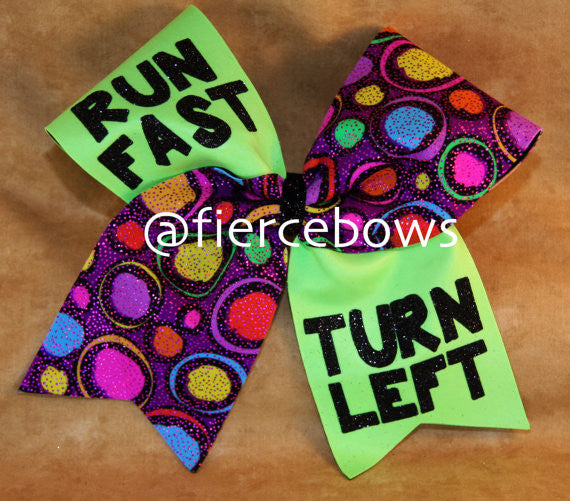 Run Fast Turn Left Softball Bow