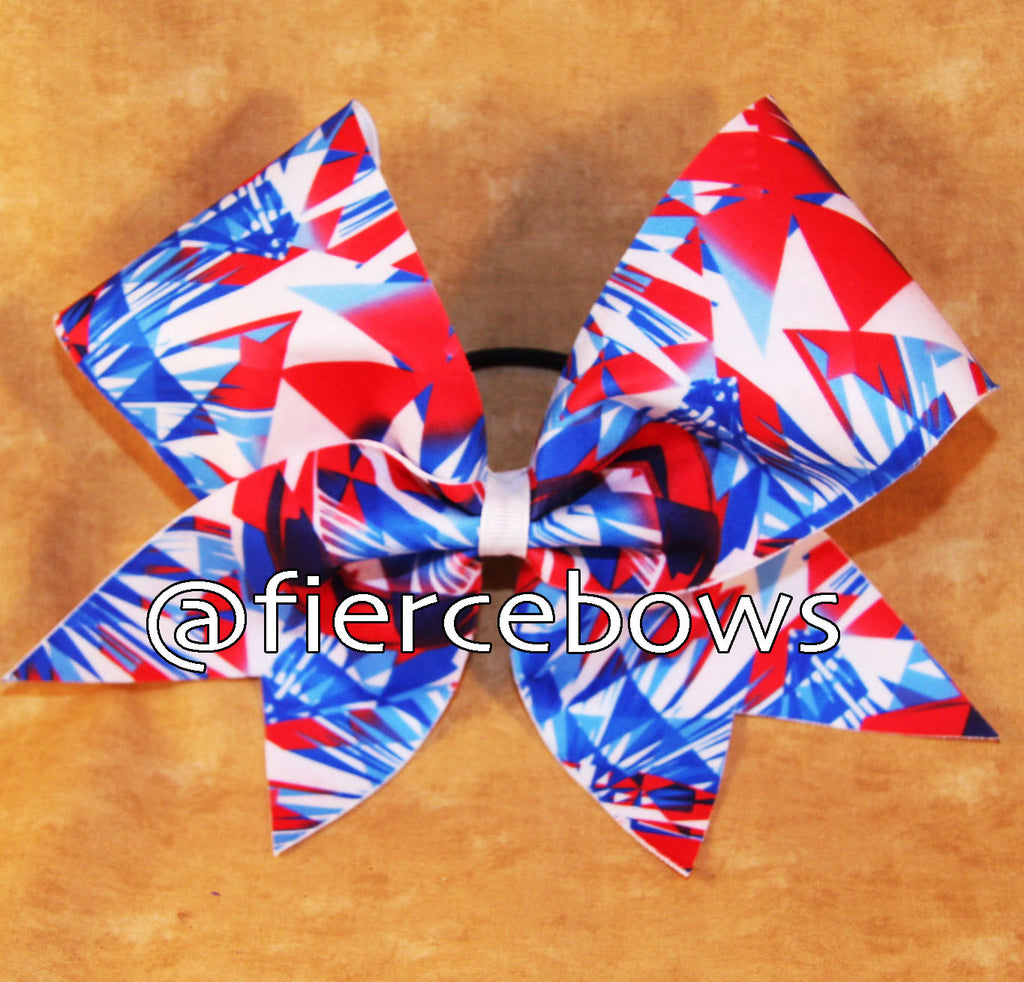 Patriotic Aztec Print Cheer Bow