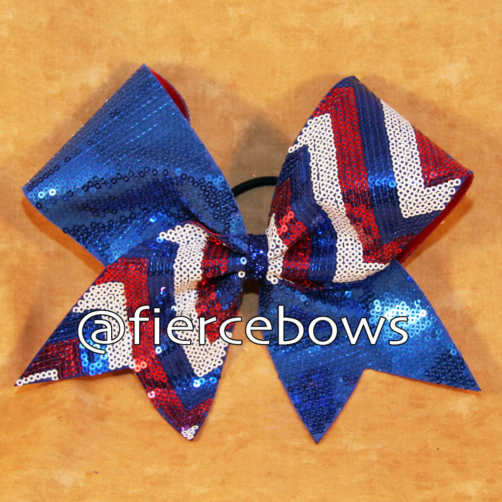 Red, White and blue Sequin Chevron Tick Tock Cheer Bow