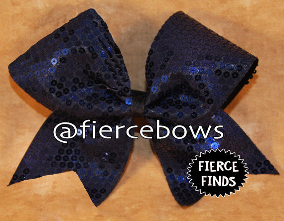Navy Sequin Cheer Bow