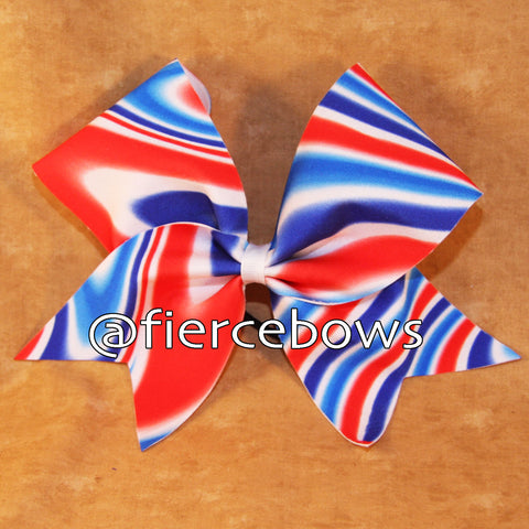 Patriotic Swirl Art Cheer Bow