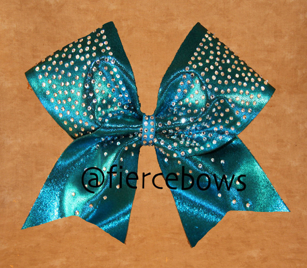 Teal Envy Rhinestone Cheer Bow