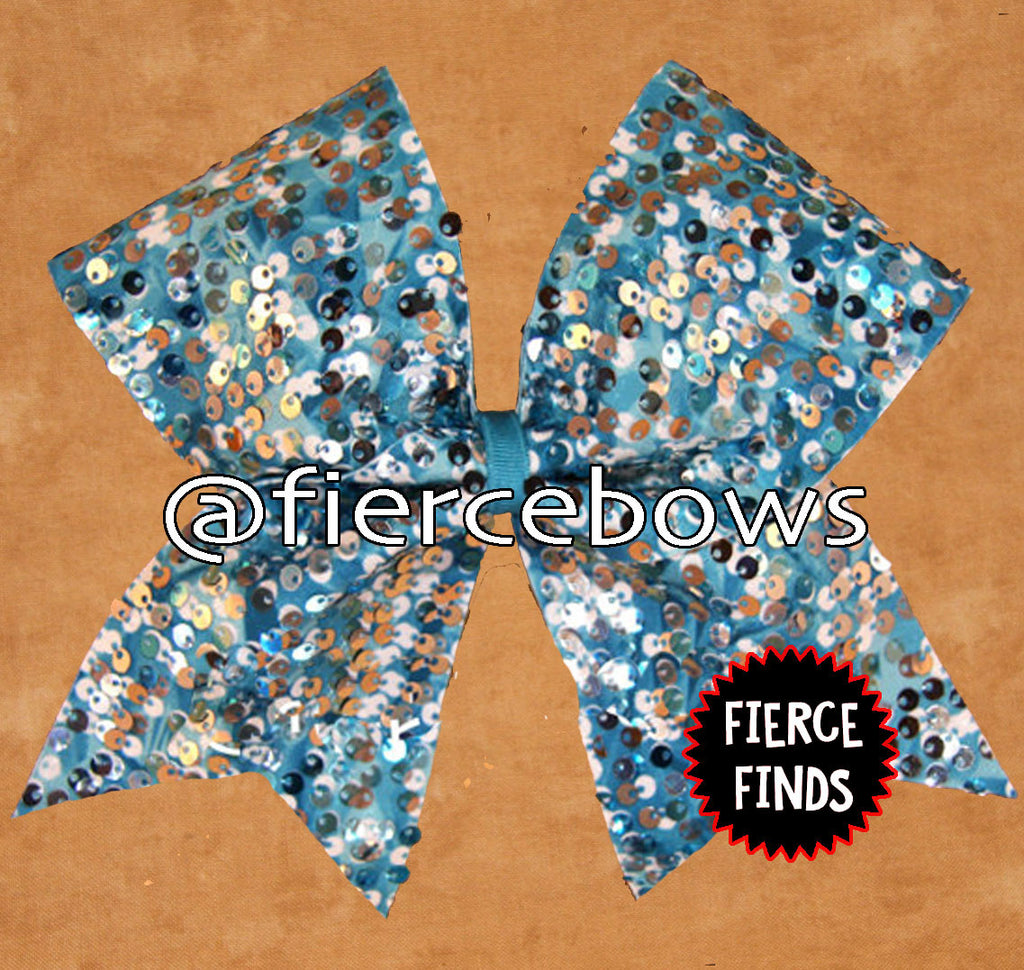 Teal Rain Sequin Bow