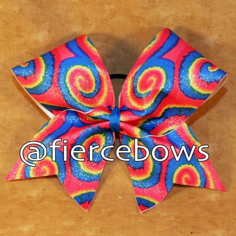 Bright Tie Dye Swirls Cheer Bow