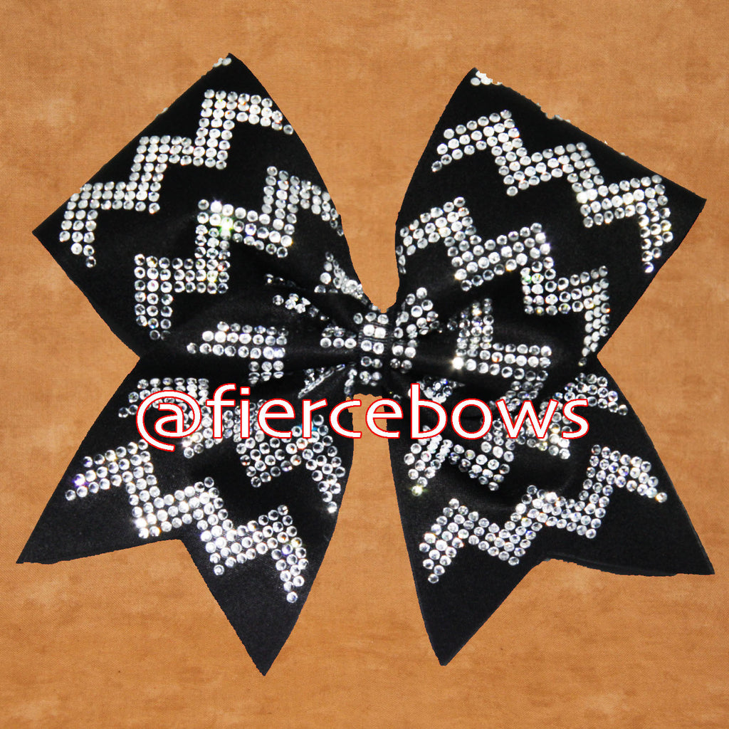 Triple Row Rhinestone Chevron Cheer Bow