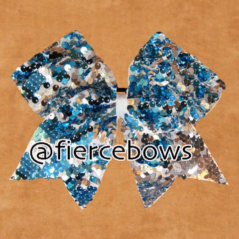 Turquoise and white reversible sequin cheer bow