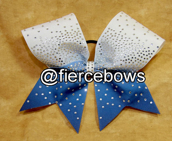 White to Columbia Ombre Rhinestone Bow