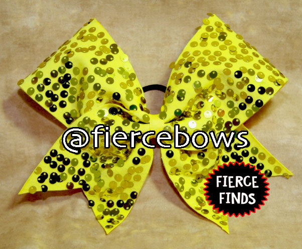 "Yellow Gold  ""Rain"" Style Sequin Cheer Bow"