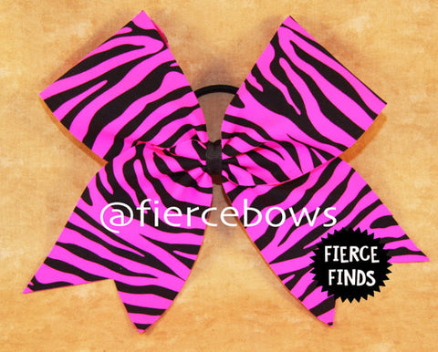 Neon Pink and Black Zebra Bow