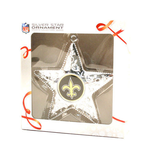 New Orleans Saints Silver Star Christmas Ornament