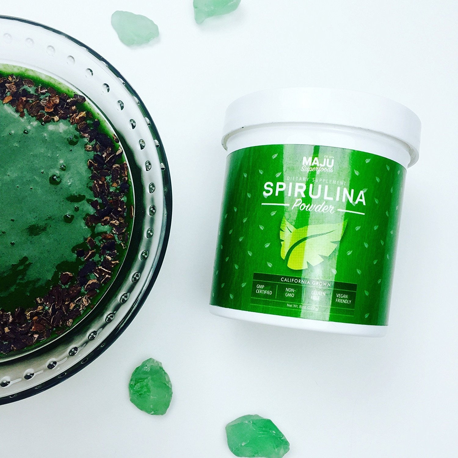 Spirulina Powder (2 lb.): Non-Irradiated, Non-GMO, Vegan, Gluten-free - Maju Superfoods
