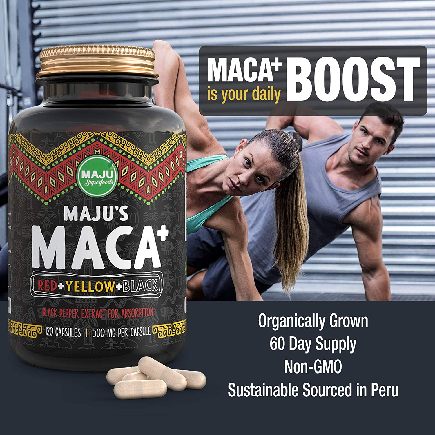 MAJU's Maca Plus Capsules, Red, Yellow & Black Organic Root w/ Black Pepper Extract - Maju Superfoods