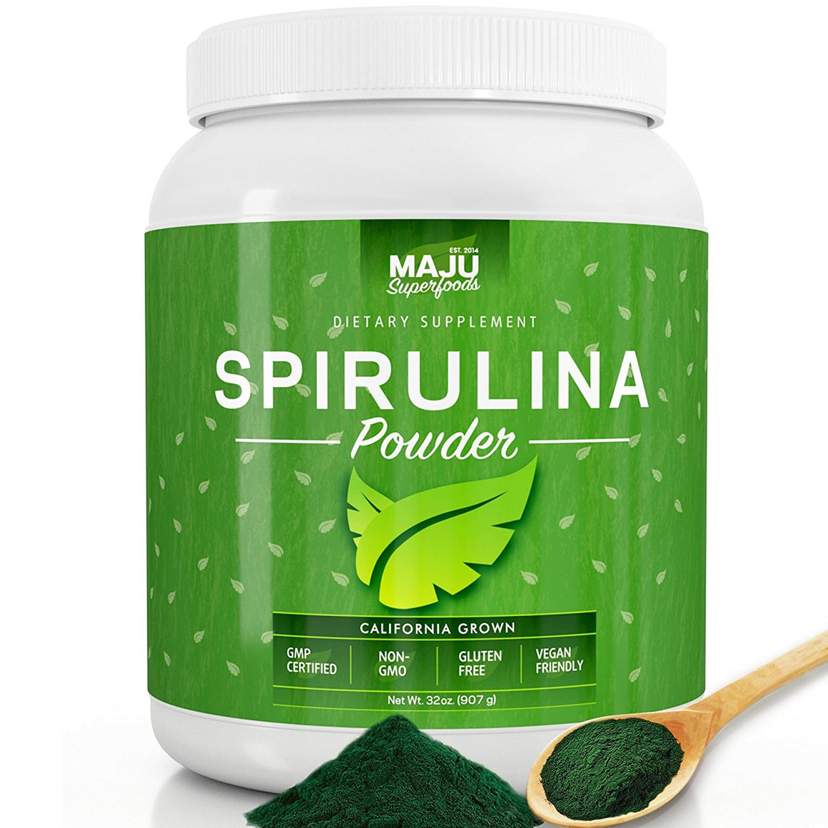MAJU's California Grown Spirulina Powder (2 POUND): Non-Irradiated, Non-GMO, Vegan, Gluten-free - Maju Superfoods