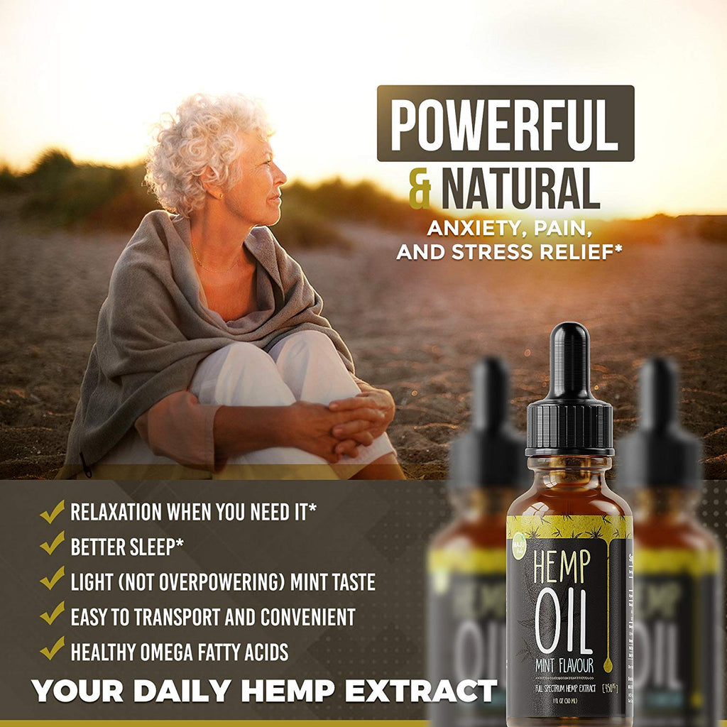 Full Spectrum Hemp Oil Extract for Pain and Anxiety, Mint Flavor by Maju Herbs™ - Maju Superfoods