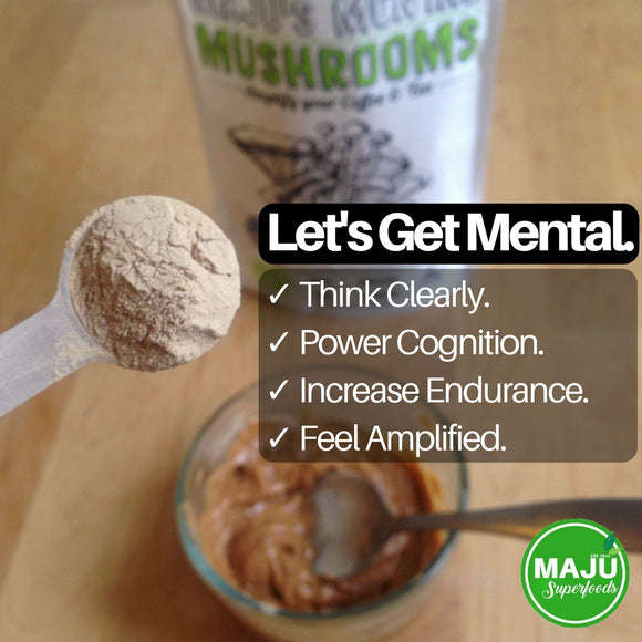 MAJU's Mental Mushrooms - Reishi, Cordyceps, Chaga, Lion's Mane Blend
