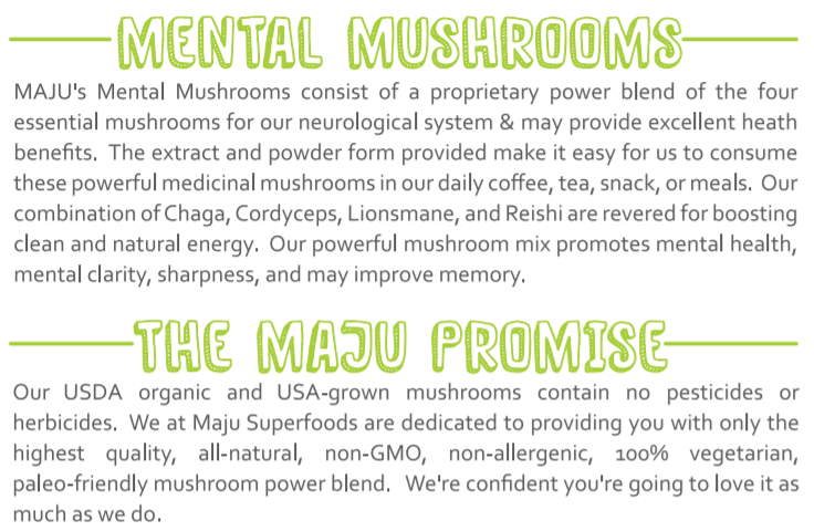 Mental Mushrooms™ - Reishi, Cordyceps, Chaga, Lion's Mane 8:1 Extract Blend (80g) - Maju Superfoods