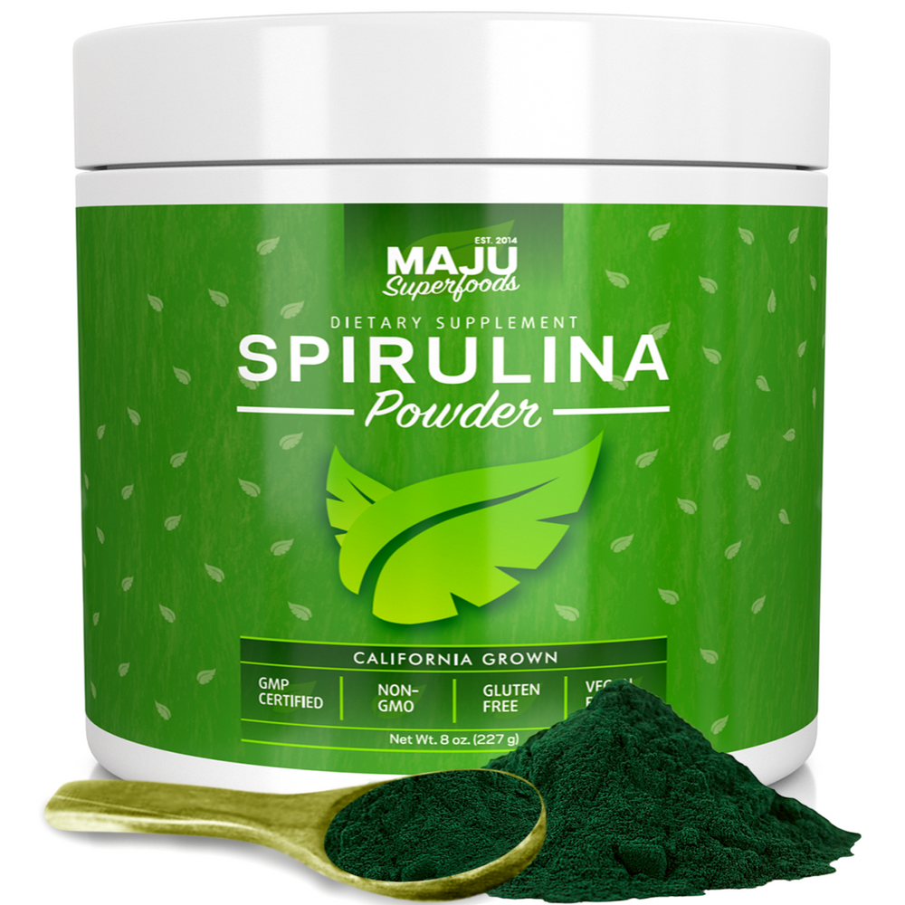 MAJU's Spirulina Powder: California Grown, Non-Irradiated, Non-GMO (8oz) - Maju Superfoods