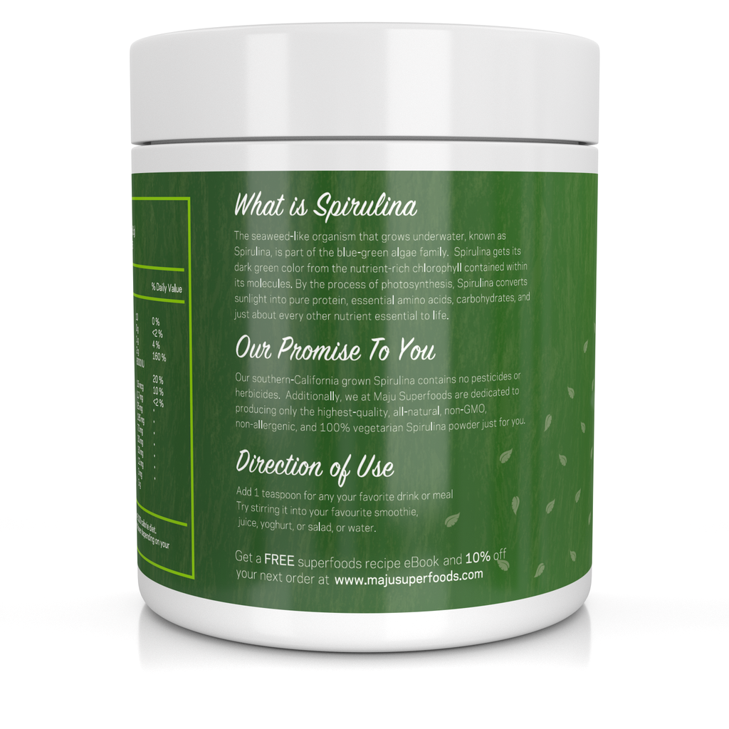 MAJU™ Spirulina Powder: California Grown, Non-Irradiated, Non-GMO (8oz) - Maju Superfoods