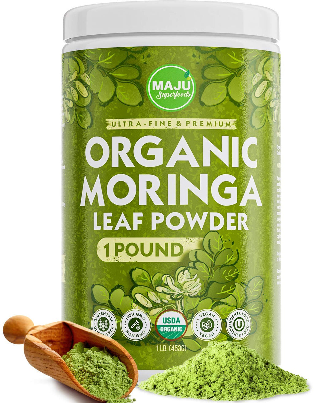 MAJU's Organic Moringa Powder (1 Pound), Oleifera Leaf, Extra-Fine Quality, Dried Drumstick Tree Leaves, Tea, Smoothies, Food-Grade - Maju Superfoods