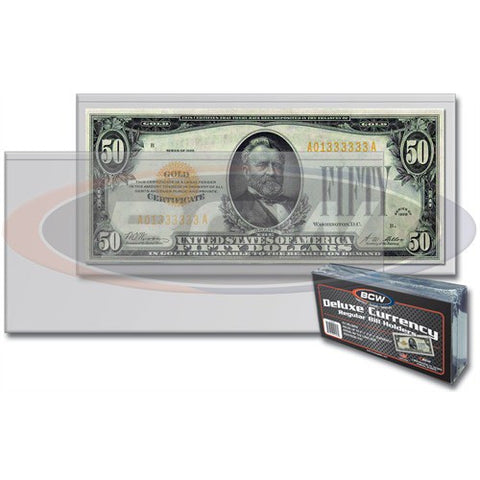 BCW DELUXE CURRENCY HOLDER – LARGE BILL (PACK OF 50)