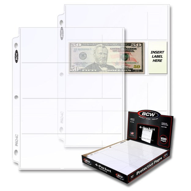 BCW PRO 4-POCKET CURRENCY PAGE (100 CT. BOX)