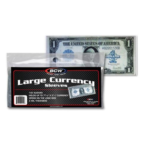 BCW CURRENCY SLEEVES – LARGE BILL