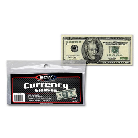 BCW CURRENCY SLEEVES – REGULAR BILL