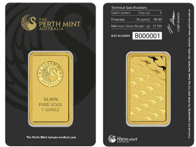 1 oz Perth Mint Gold Bar (New w/ Assay) - BullionBrothers.net