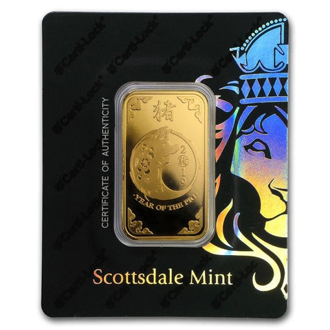 1 oz Scottsdale Lunar Year of the Pig Gold Bar (New w/ Assay) - BullionBrothers.net