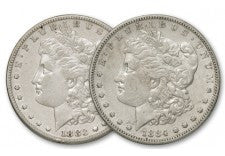 1883-1884-S Morgan Silver Dollar XF Set 2 Pieces