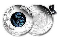 2015 Australia 1-oz Rough Scaled Python Opal Silver Dollar Proof
