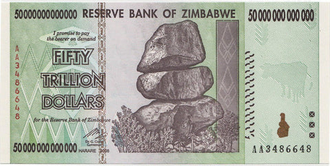 zimbabwe 50 trillion banknote currency
