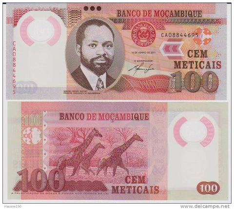 Mozambique 100 meticais 2011 unc banknote currency