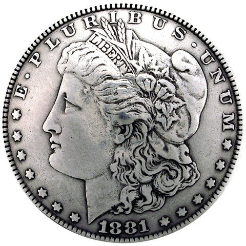 concho morgan silver dollar head coin