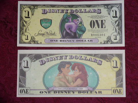 2013 $1 Disney Dollar featuring Little Mermaid - D Series NEW - 4 Digit Number